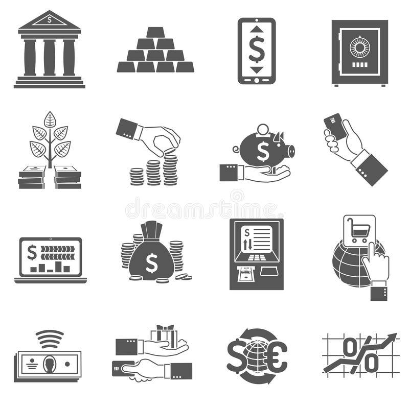 Banking Icon Black Set. Banking finance and investment icon black set isolated vector illustration vector illustration
