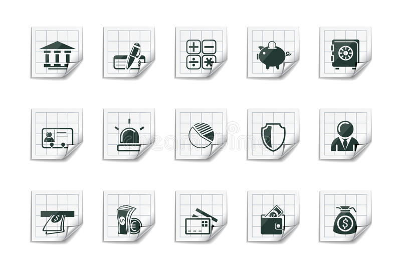 Download Banking Icons |Sticky Series Royalty Free Stock Images - Image: 16556119