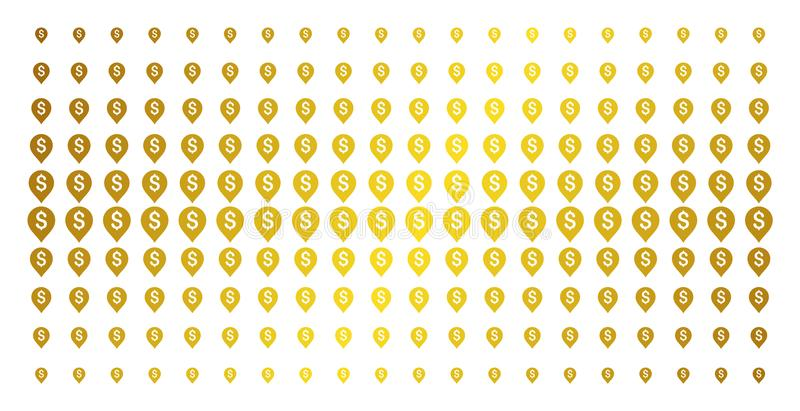 Banking Map Marker Golden Halftone Matrix. Banking map marker icon gold colored halftone pattern. Vector banking map marker objects are organized into halftone royalty free illustration
