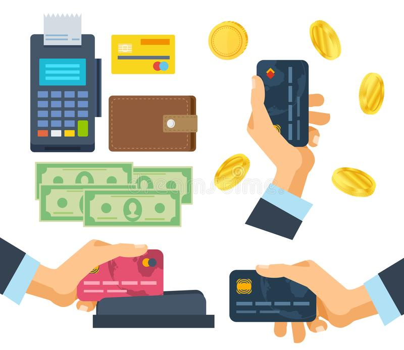 Banking, payment terminal, finance, monetary currencies, gold coins, bank card. Pos terminal. Financial transactions, operation on payment. Banking, payment vector illustration