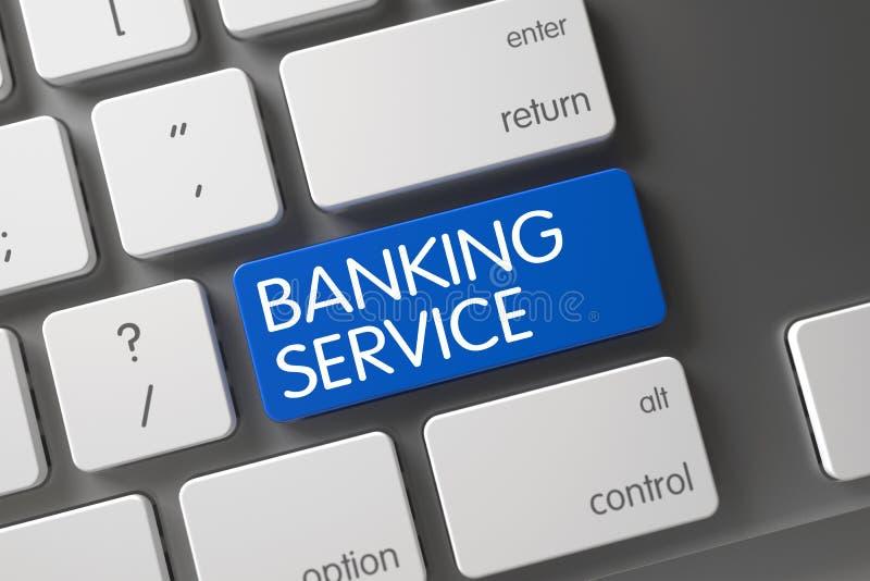 Banking Service Keypad. 3D Rendering. Concept of Banking Service, with Banking Service on Blue Enter Key on Slim Aluminum Keyboard. 3D Render stock images