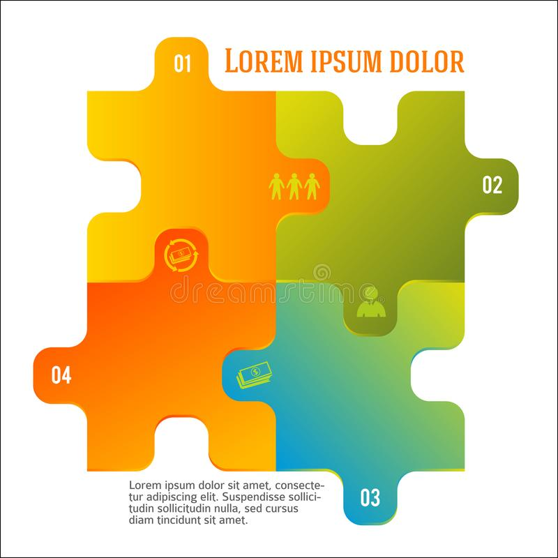Banking team infographic template puzzle style vector illustration