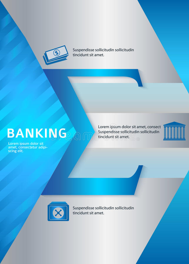 Banking vertical format A4 leaflet page presentation stock illustration