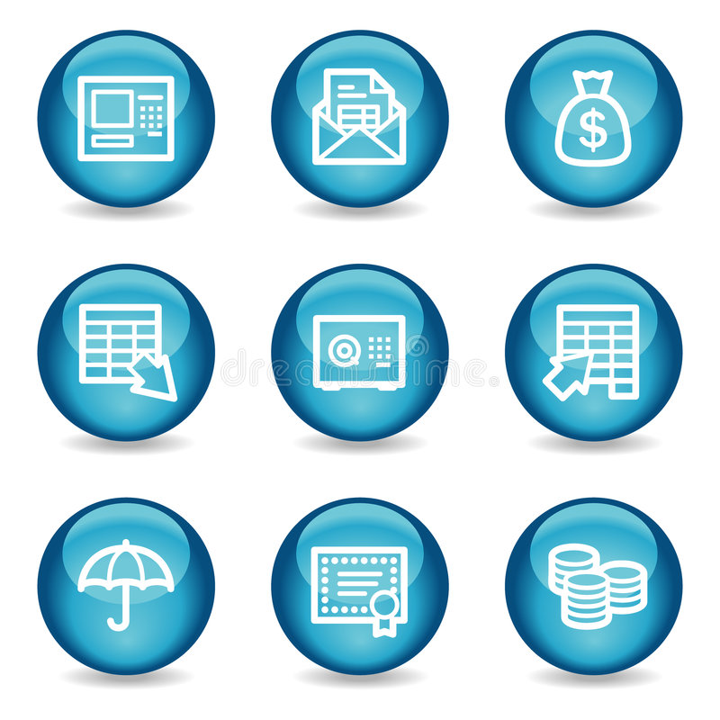 Download Banking Web Icons, Blue Glossy Sphere Series Royalty Free Stock Photos - Image: 8578418