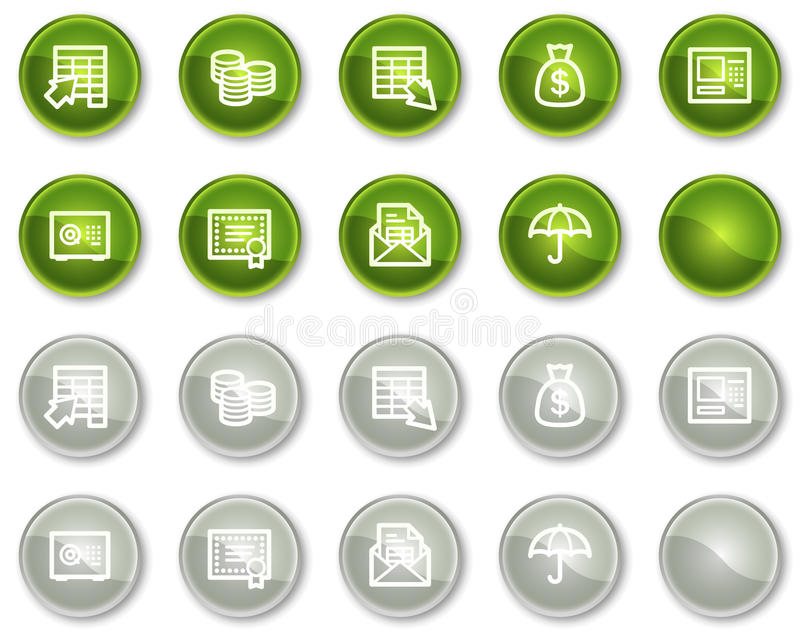 Download Banking Web Icons, Green And Grey Circle Buttons Stock Vector - Image: 12087147