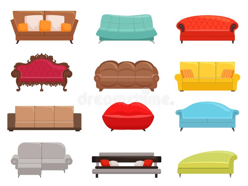 bankinzameling Comfortabele laag en de bank-bed reeks, het binnenlandse meubilair van manierbanken, huisvest moderne canapsvector stock illustratie