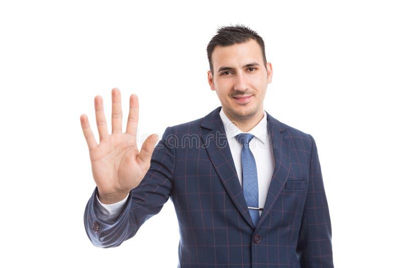 Bankir- eller mäklarevisning nummer fem eller femte med fingrar royaltyfri foto