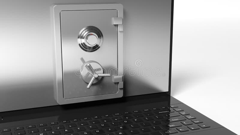 Bankkassaskåp på bärbar datorskärmen vektor illustrationer