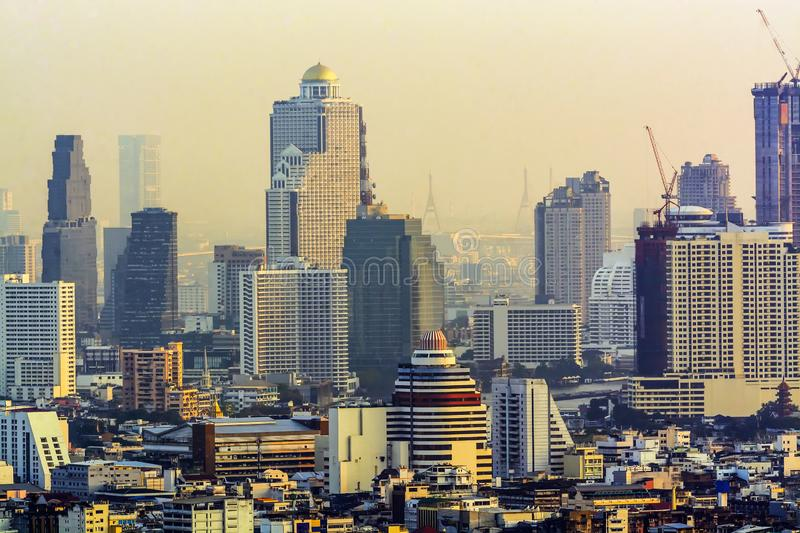 Bankkok, The capital of Thailand with building and skyscrapers. Bankkok, The capital of Thailand with building and skyscrapers in evening royalty free stock image