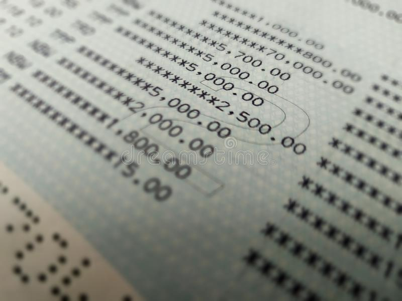 Bankkonto-Buchabschluß herauf selektiven Fokus stockbilder