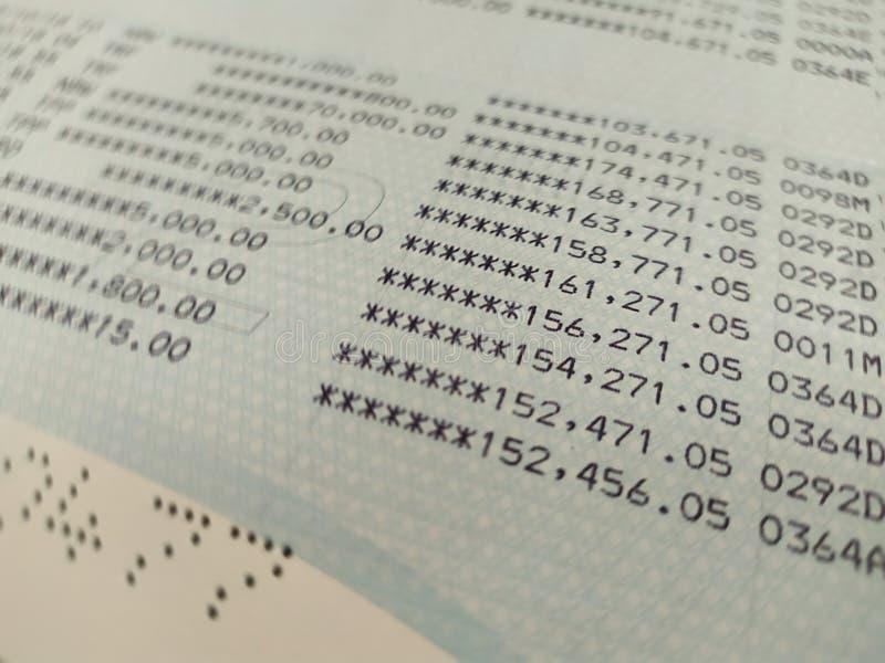 Bankkonto-Buchabschluß herauf selektiven Fokus stockfotografie