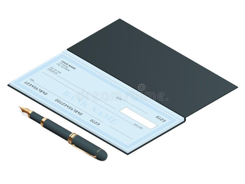 Bankkontroll med modern design Plan isometrisk illustration Checkbok på kulör bakgrund Bankkontroll med pennan stock illustrationer