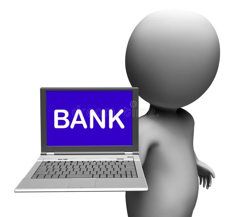 Banklaptop toont online Internet-Betalingen of Elektronisch Bankwezen royalty-vrije illustratie