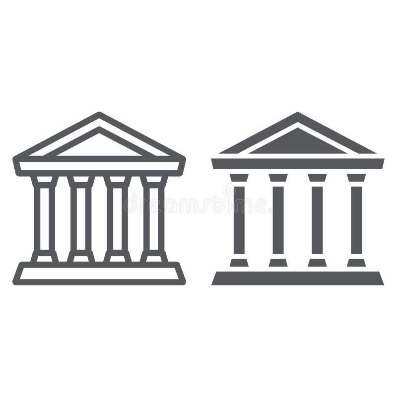 Banklijn en glyph pictogram, de bouw en architectuur, gerechtsgebouwteken, vectorafbeeldingen, een lineair patroon op een wit stock illustratie