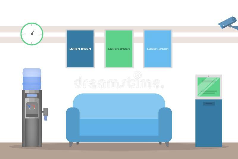 Bankmottagandeinre En tom rumdesign royaltyfri illustrationer