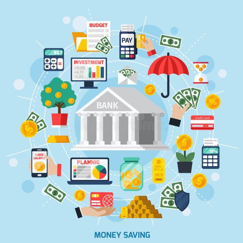 banknotów czarny kalkulatora pojęcia pieniądze oszczędzanie royalty ilustracja