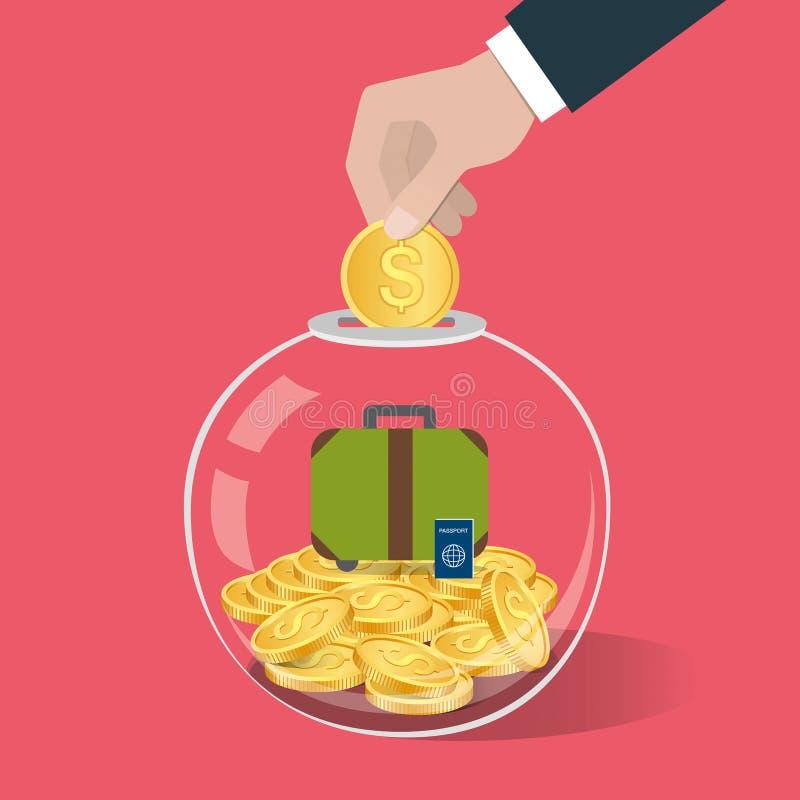 banknotów czarny kalkulatora pojęcia pieniądze oszczędzanie Wręcza stawiać monetę w szklaną butelkę royalty ilustracja
