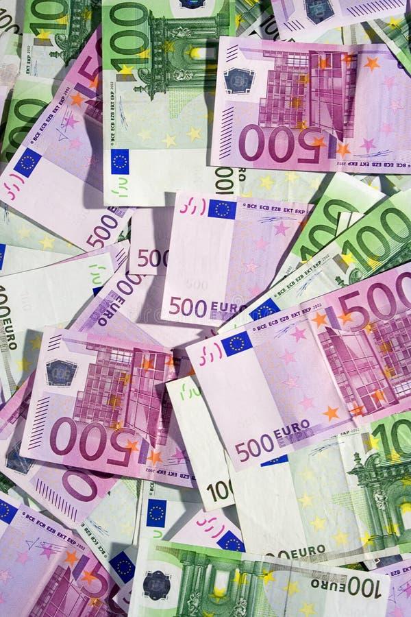 banknotów euro na widok zróżnicowany fotografia stock
