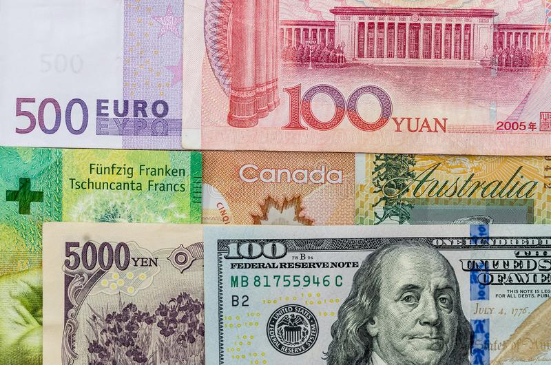 Banknot amerykański dolar kanadyjski, euro, japoński jen i chiński Yuan obraz royalty free