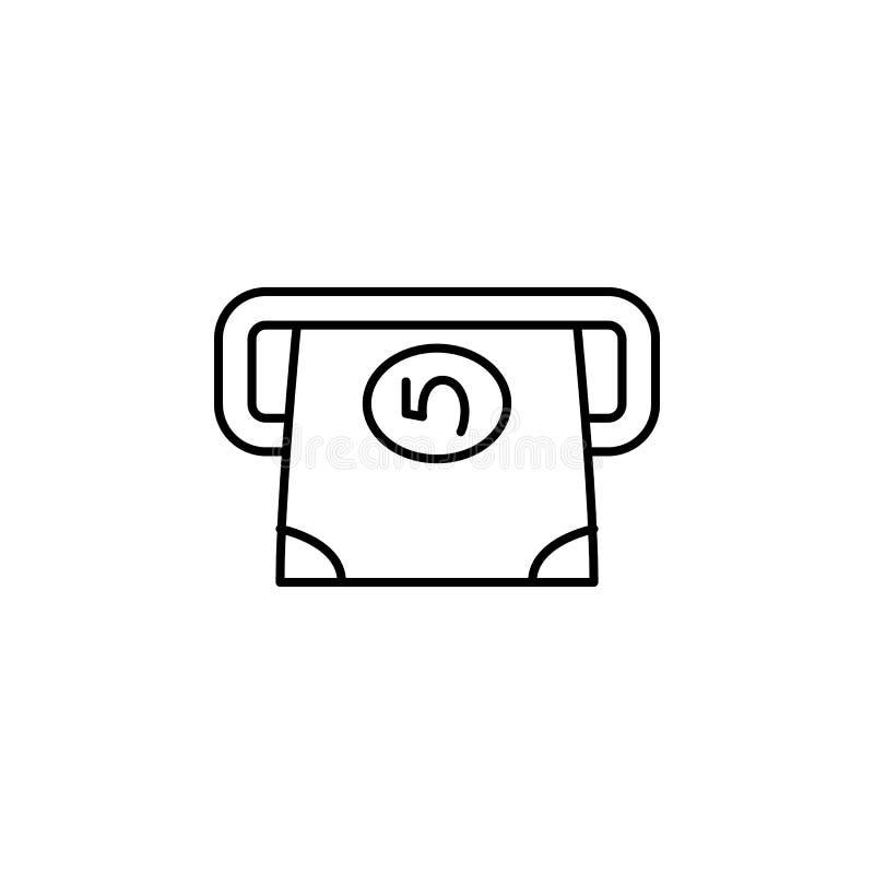 Banknot ikona Element prosta ikona dla stron internetowych, sieć projekt, wisząca ozdoba app, ewidencyjne grafika Cienka kreskowa ilustracji