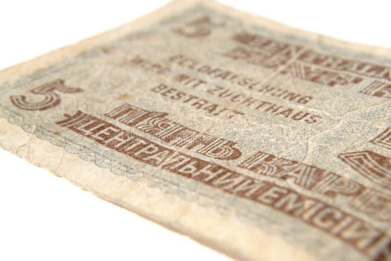 Banknot pięć rubli fascist zajęcie obrazy royalty free
