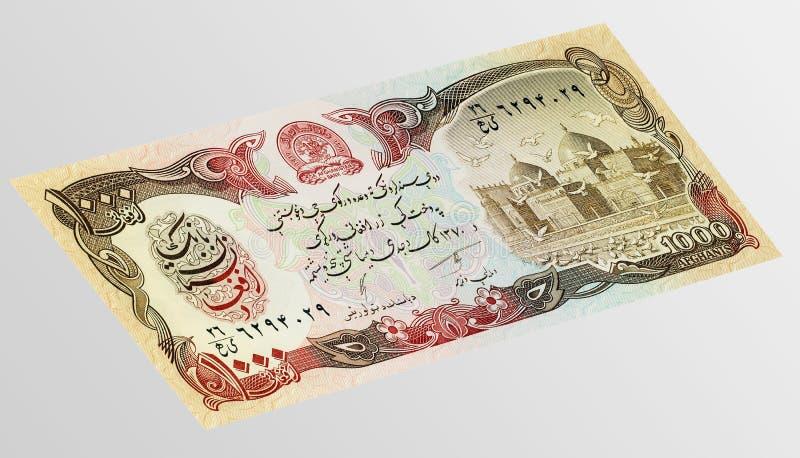 Banknote asiatischen Währung 1000 Afghani stockfoto
