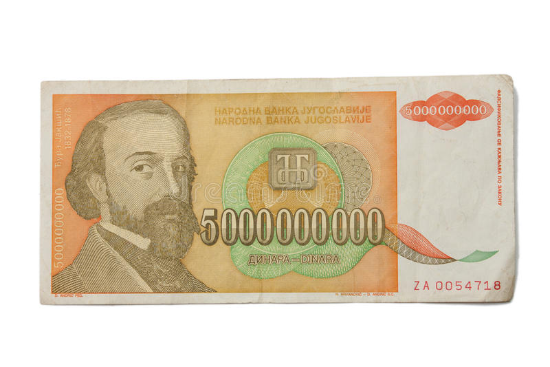 Banknote of 5 billion dinars from Yugoslavia. Huge inflation and total collapse of the economy stock images