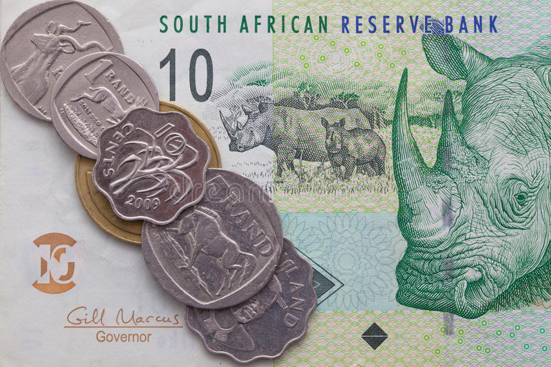 Banknote and coins of Rand of South Africa. Different banknote and coins of Rand of South Africa stock images
