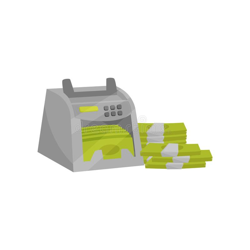 Banknote counter. Electronic machine for counting money. Stacks of paper cash. Financial theme. Flat vector design. Banknote counter. Modern electronic machine vector illustration
