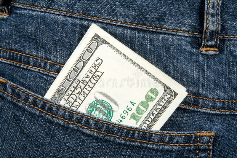 Banknote in der Hüftetasche Jeans stockbild