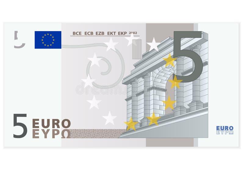 Banknote des Euros fünf lizenzfreie abbildung