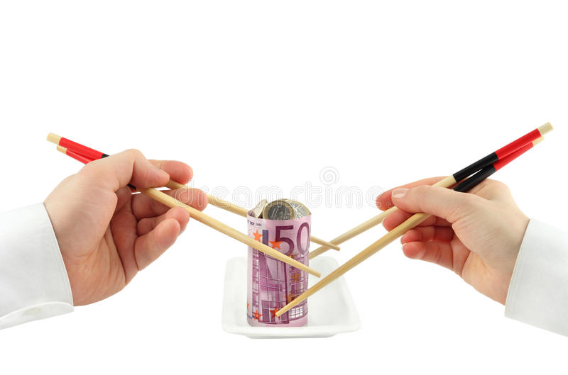 Banknote. Hands taking euro banknote on white back stock images