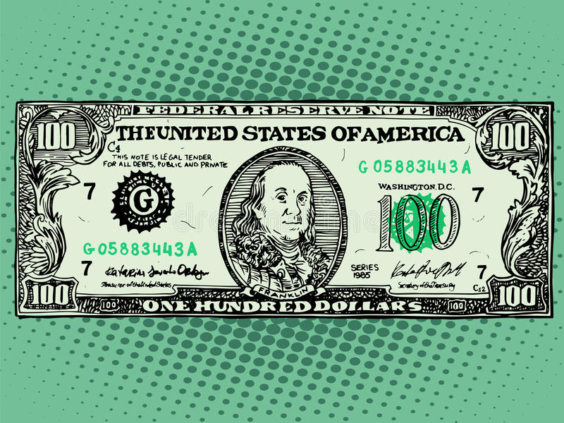 Banknote hundred dollars Benjamin Franklin stock illustration