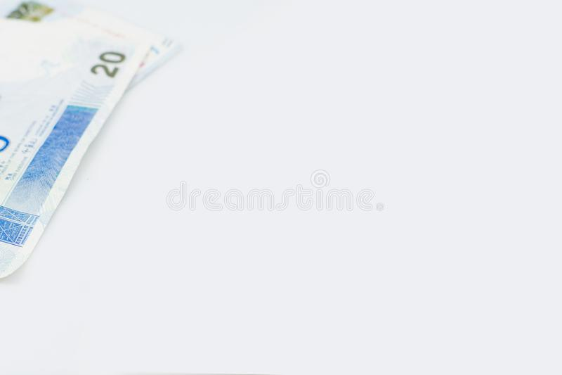 Banknote von Hong Kong auf weißem Hintergrund stockfotografie