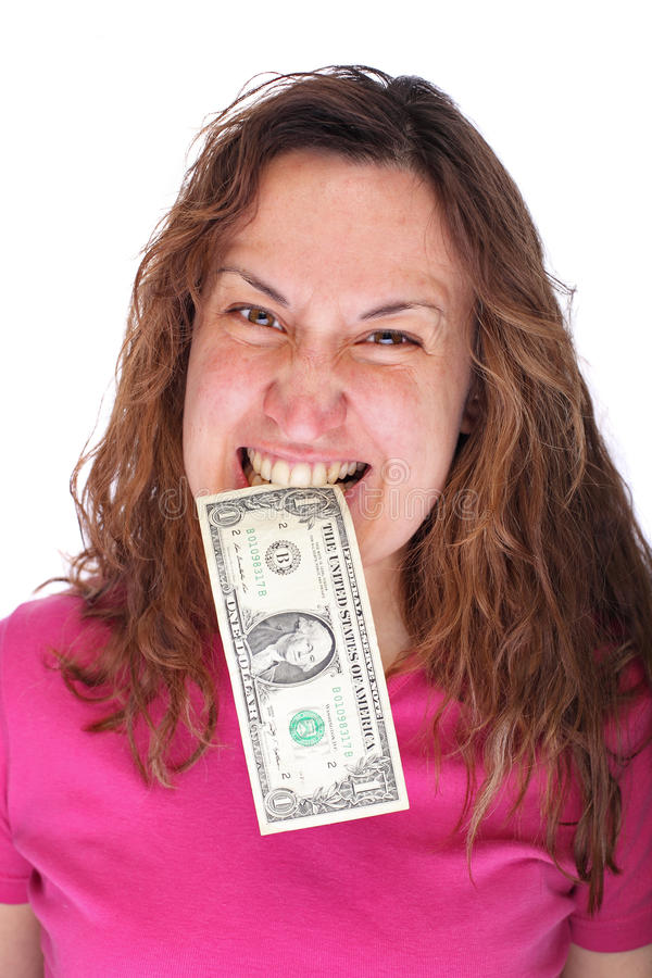 Download Banknote in woman mouth stock photo. Image of angry, brunette - 25025100