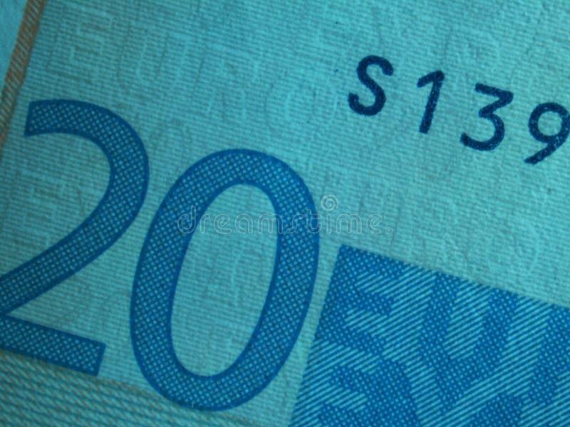 banknote1 euro dwadzieścia fotografia royalty free