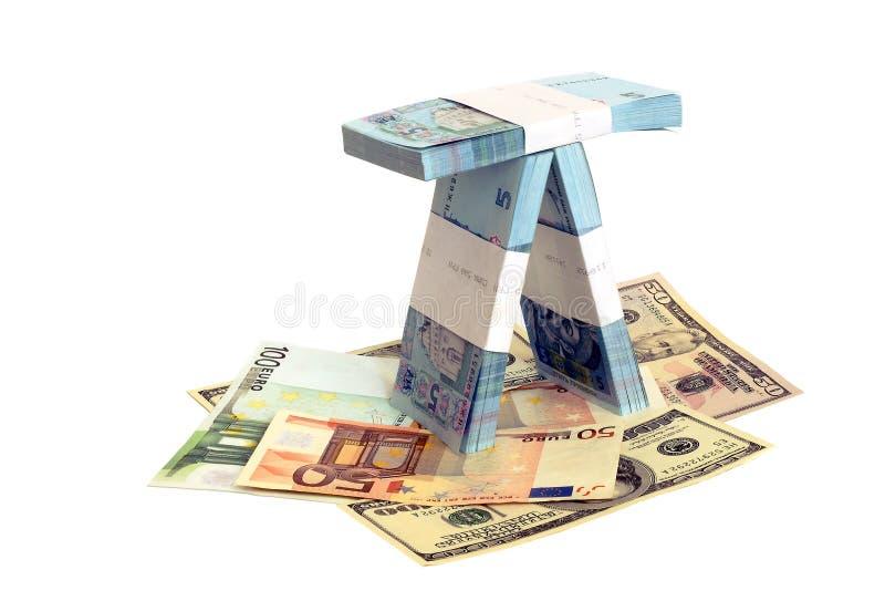 Banknoten der Europäischen Gemeinschaft, der USA und der Ukraine stockbilder