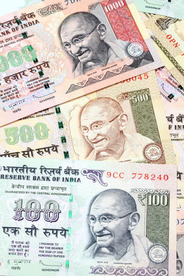 Banknoten der indischen Rupie lizenzfreies stockfoto