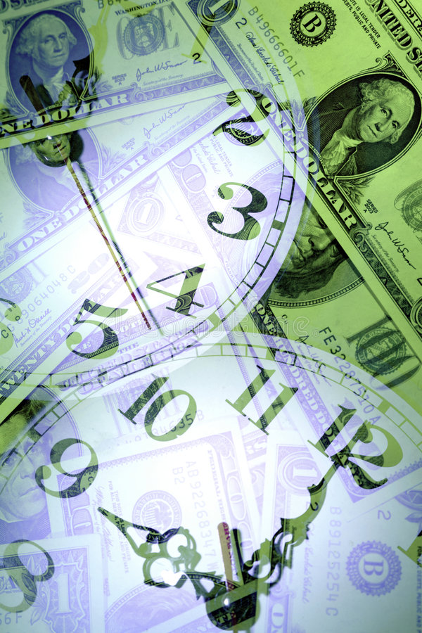Banknoten und Borduhren stockfoto