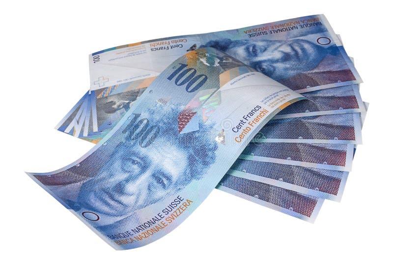 Banknoten von hundert Schweizer Franken auf weißem Hintergrund stockbild