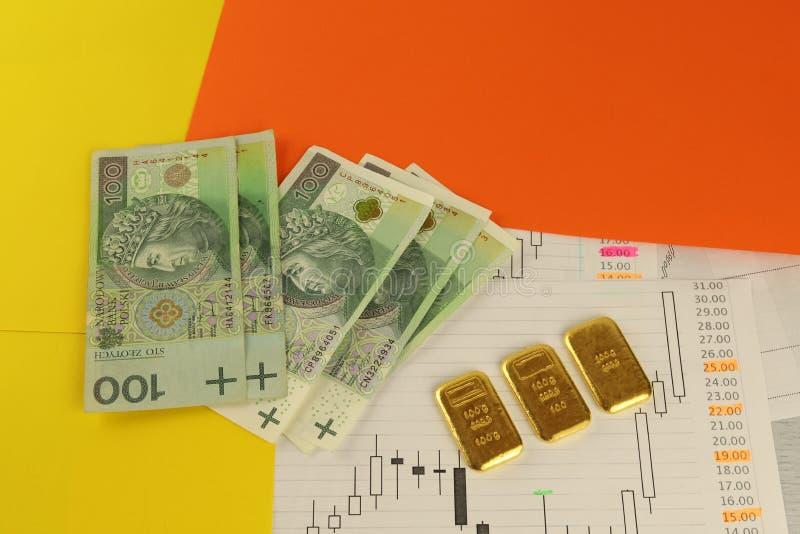 Banknoten von 100 polnischen Zlotys und von Goldbarren Aktienkurven, Farbpapier stockfotografie