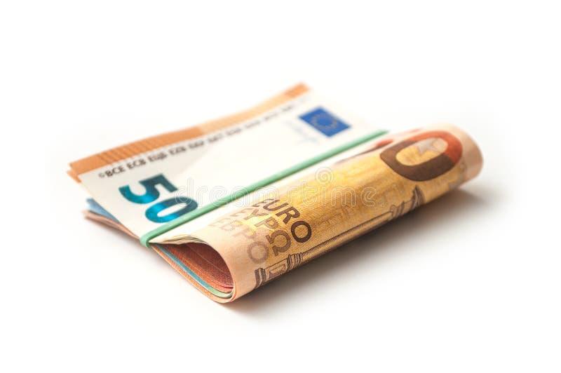 Banknotenbündel fünfzig-Euro-Geld auf weißem backgr stockfotografie