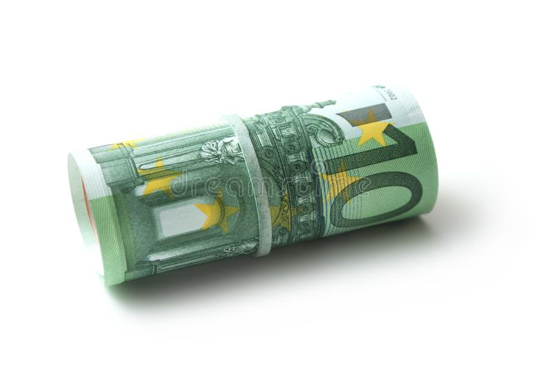 Banknotenrolle von hundert Eurogeld auf weißem backgr lizenzfreies stockfoto