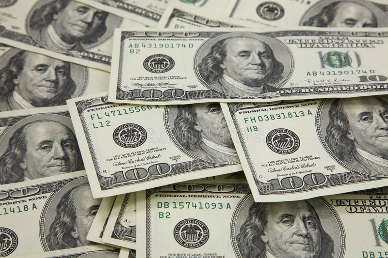 Banknotes In 100 US Dollars Stock Images