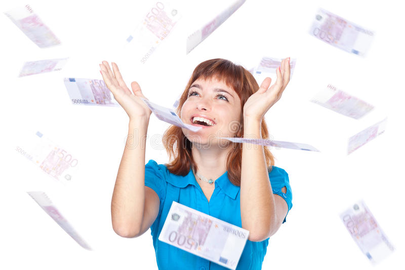 Banknotes Of 500 Euro Are Falling On Girl Royalty Free Stock Photo