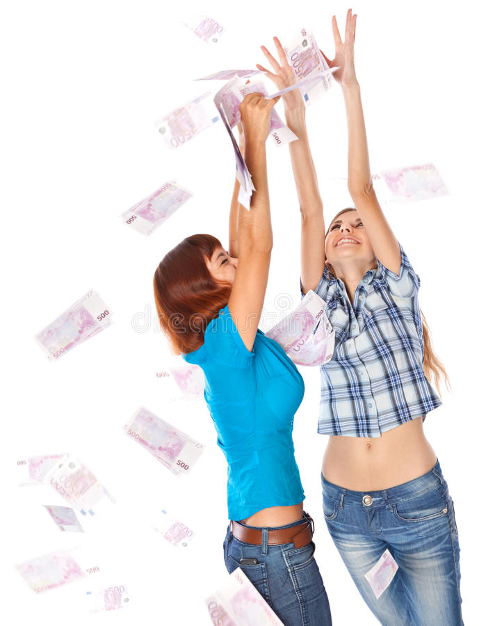 Download Banknotes Of 500 Euro Are Falling On Two Girls Stock Photo - Image of finance, look: 16436802