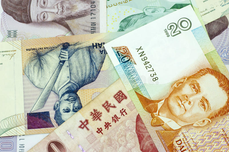 Banknotes of Asian countries. Close up Banknotes of Asian countries stock photos