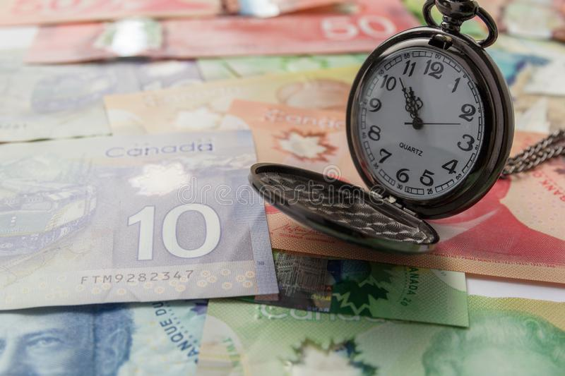 Banknotes of Canadian currency: Dollar. Bills spread and variation of amounts. Banknotes of Canadian currency: Dollar. Canada Money. Bills spread and variation royalty free stock image