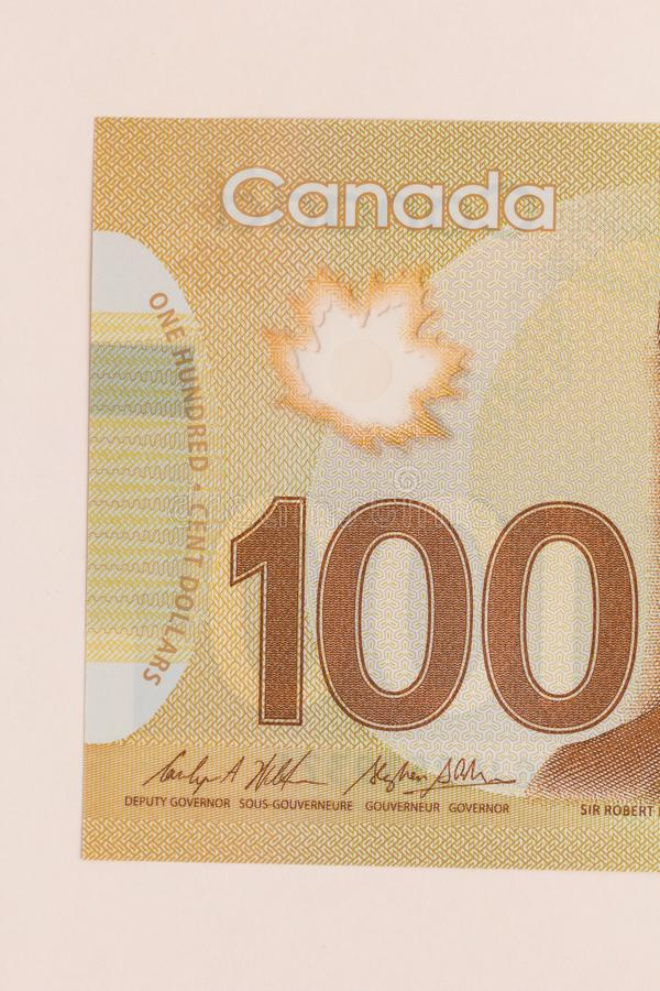 Banknotes of Canadian currency: Dollar. Detail close up shot. Banknotes of Canadian currency: Dollar. Canada Money. Detail close up shot royalty free stock image