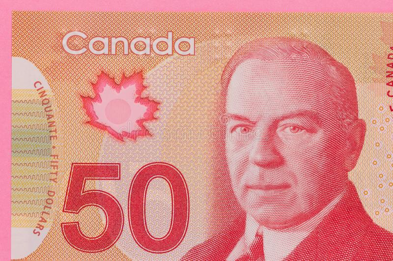 Banknotes of Canadian currency: Dollar. Detail close up shot royalty free stock images